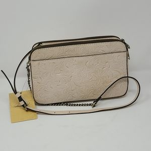 Patricia Nash White Tooled Chamberry Crossbody